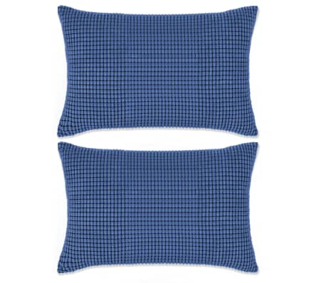 vidaXL Set perne decorative 2 buc. Velur 40 x 60 cm Albastru