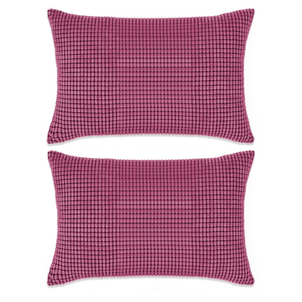 vidaXL Σετ Μαξιλαριών 2 τεμ. Ροζ 40 x 60 εκ. Βελουτέ