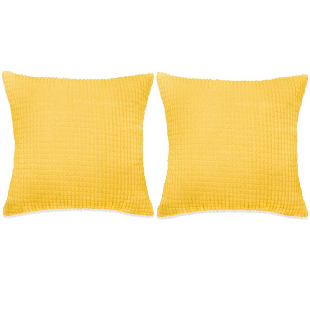 vidaXL Σετ Μαξιλαριών 2 τεμ. Κίτρινο 45 x 45 εκ. Βελουτέ