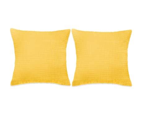 vidaXL Set Jastuka 2 kom od Velura 45x45 cm Žuti[1/5]