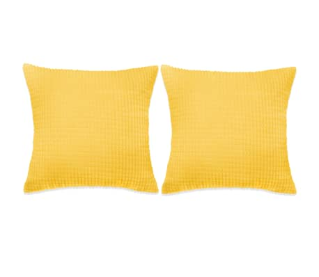 vidaXL Sada polštářů 2 ks velur, 45 x 45 cm, žluté