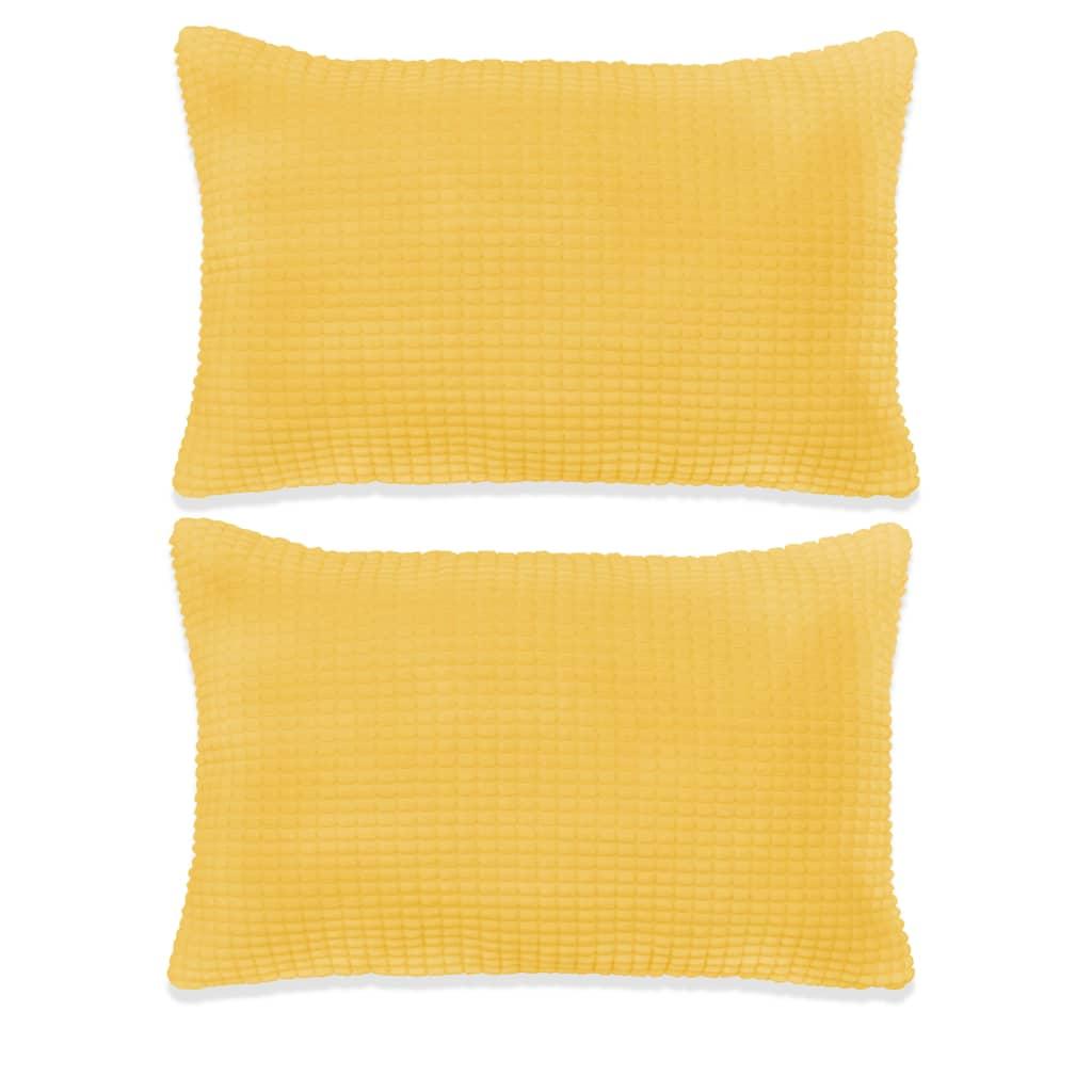 vidaXL Σετ Μαξιλαριών 2 τεμ. Κίτρινο 40 x 60 εκ. Βελουτέ