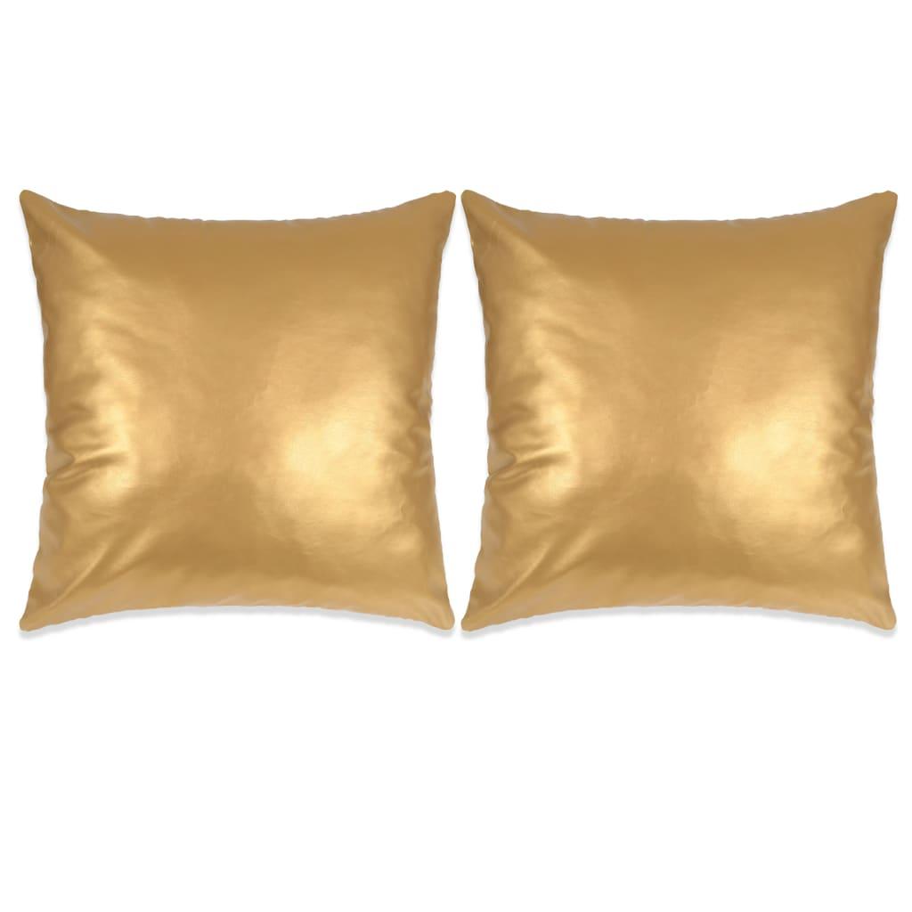 vidaXL Σετ Μαξιλαριών 2 τεμ. Χρυσό 45 x 45 εκ. από Πολυουρεθάνη
