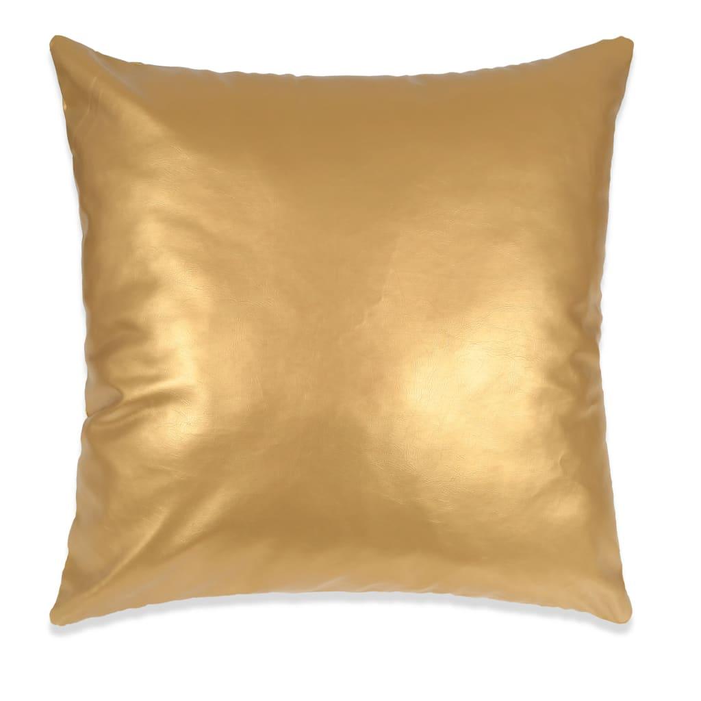 vidaXL Sada polštářů 2 ks PU, 45 x 45 cm, zlaté
