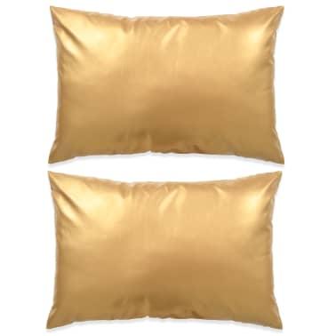 vidaXL Set jastuka od PU kože 2 kom 40x60 cm boje zlata[1/5]