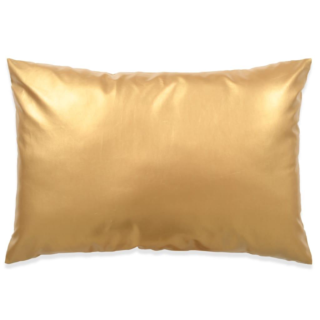 vidaXL Sada polštářů 2 ks PU, 40 x 60 cm, zlaté
