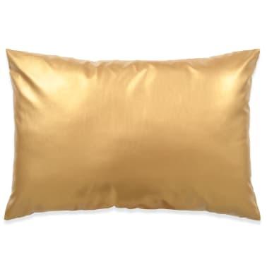 vidaXL Set jastuka od PU kože 2 kom 40x60 cm boje zlata[2/5]