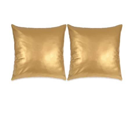 Cuscini Oro.Vidaxl Set Di Cuscini 2 Pz In Pu 60x60 Cm Oro Vidaxl It