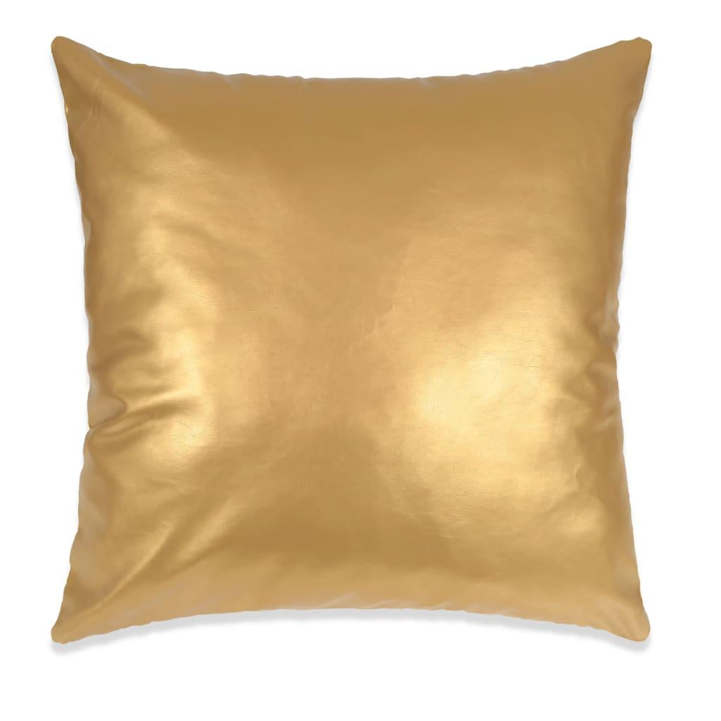 vidaXL Sada polštářů 2 ks PU, 60 x 60 cm, zlaté
