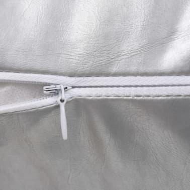 vidaXL Set jastuka od PU kože 2 kom 45x45 cm srebrni[4/5]