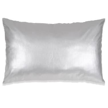 vidaXL Set jastuka od PU kože 2 kom 40x60 cm srebrni[2/5]