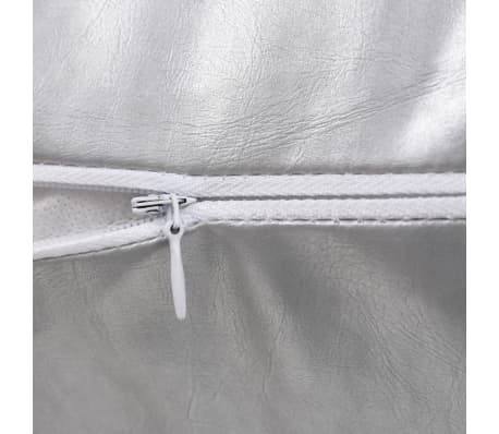 vidaXL Set jastuka od PU kože 2 kom 60x60 cm srebrni[4/5]