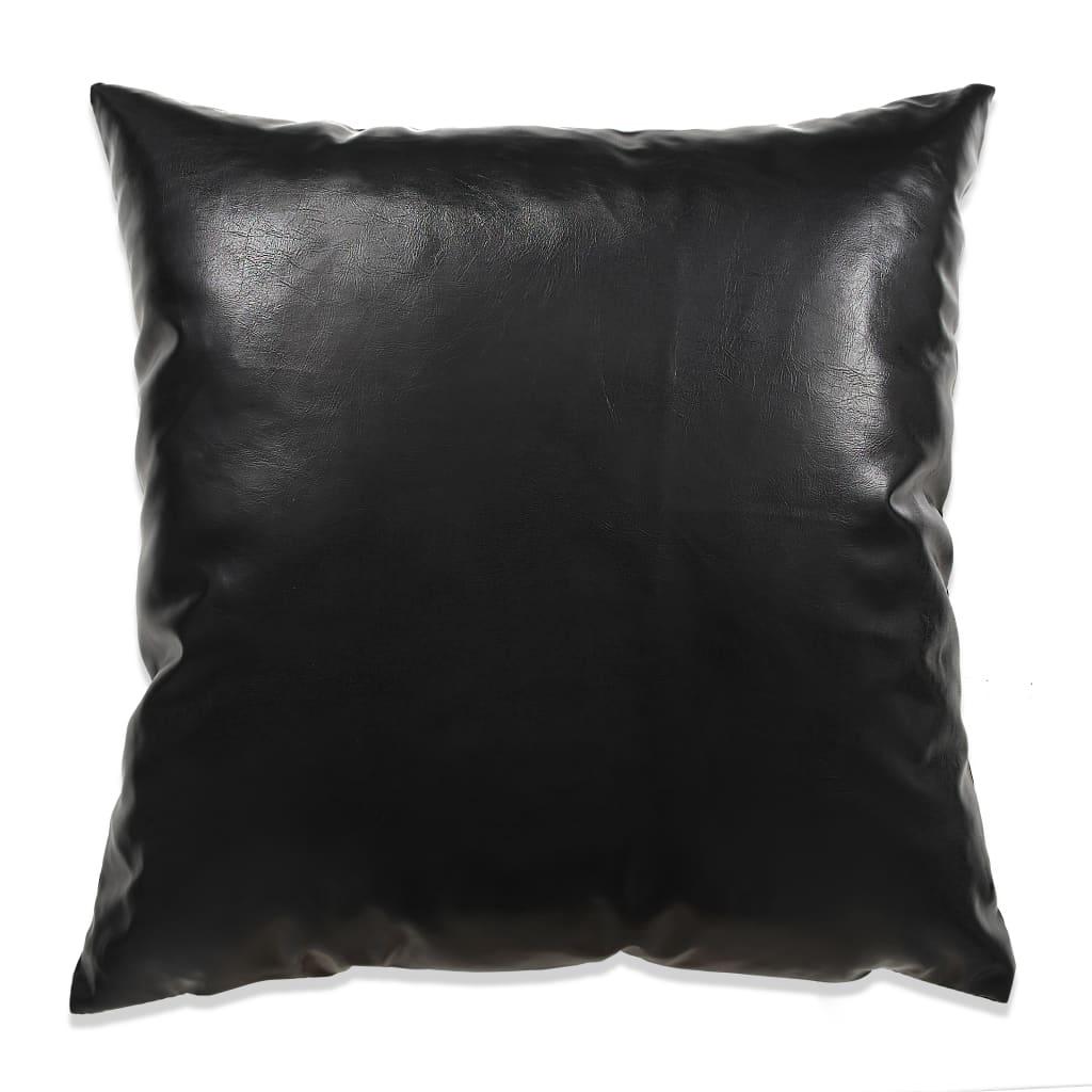 vidaXL Sada polštářů 2 ks PU, 45 x 45 cm, černé