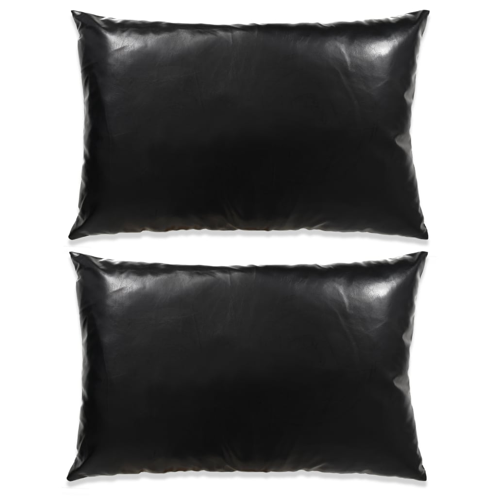 vidaXL Set perne decorative 2 buc. Poliuretan 40x60 cm Negru poza 2021 vidaXL