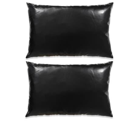 vidaXL Set jastuka od PU kože 2 kom 40x60 cm crni[1/5]
