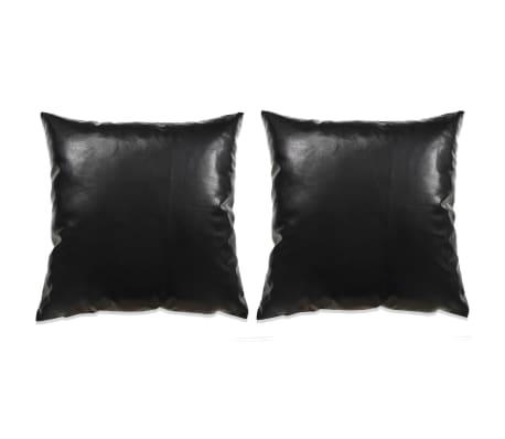 vidaXL Set jastuka od PU kože 2 kom 60x60 cm crni[1/5]