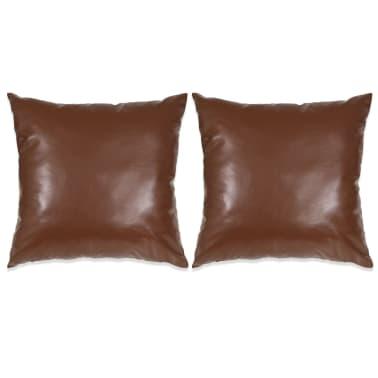 vidaXL Set jastuka od PU kože 2 kom 45x45 cm smeđi[1/5]