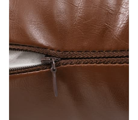 vidaXL Set jastuka od PU kože 2 kom 45x45 cm smeđi[4/5]