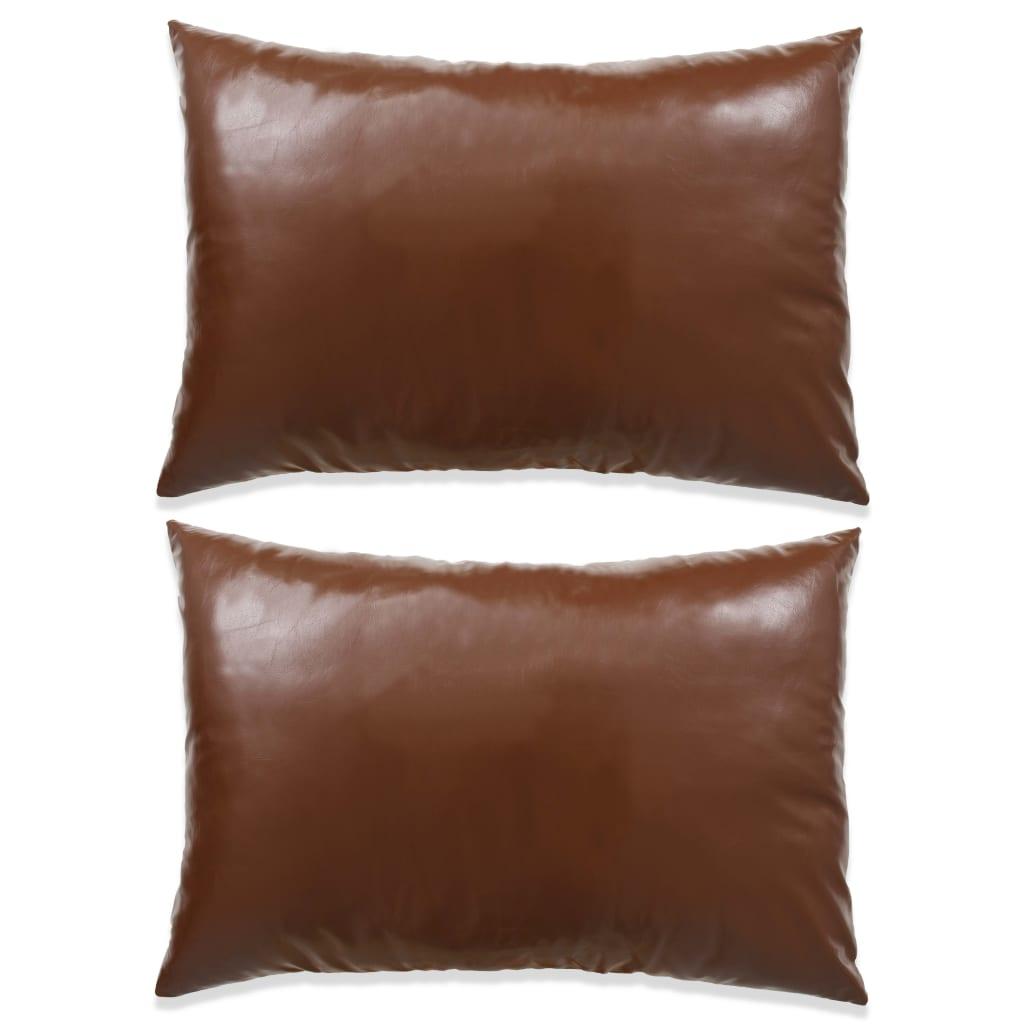 vidaXL Sada polštářů 2 ks PU, 40 x 60 cm, hnědé