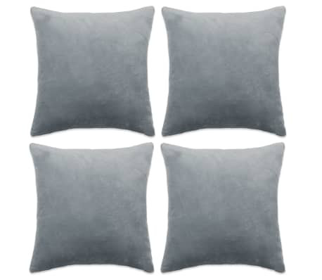 vidaXL Cushion Covers 4 pcs Velour 80x80 cm Grey