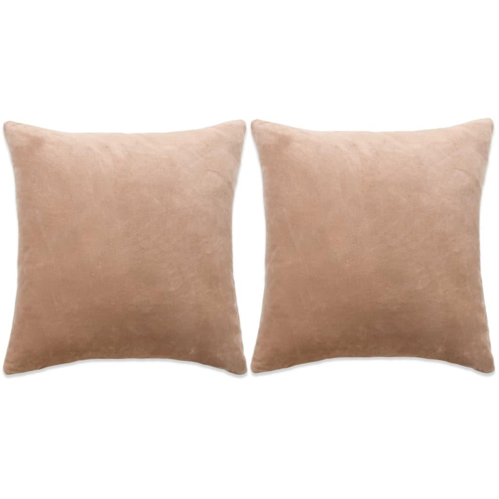 vidaXL Set perne decorative 2 buc, velur 60 x 60 cm, bej poza vidaxl.ro
