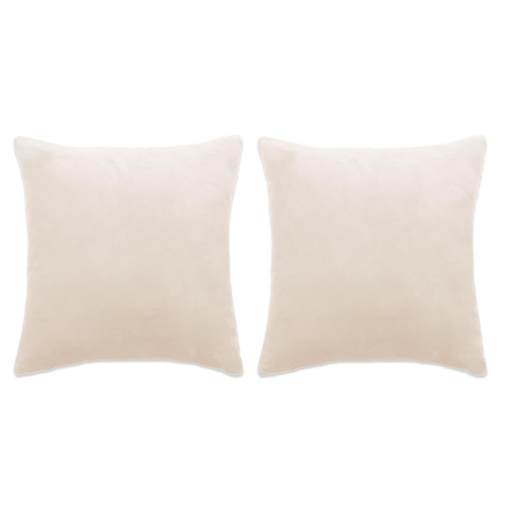 vidaXL Set de perne decorative, 2 buc, velur 45 x 45 cm, ivoar poza vidaxl.ro
