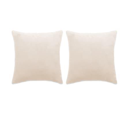 vidaXL Conjunto de 2 almofadas em veludo 60x60 cm branco pálido