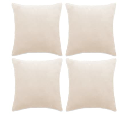 vidaXL Cushion Covers 4 pcs Velour 40x40 cm Off White