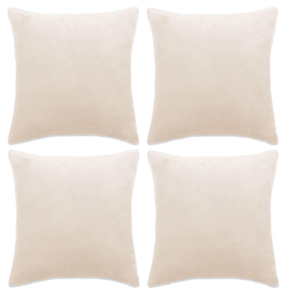 999132952 Kissenbezüge 4 Stk. Velours 50 x 50 cm Gebrochen Weiß