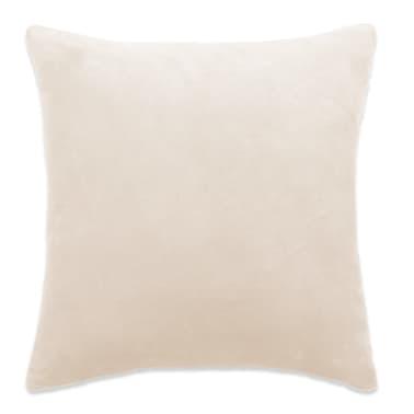 vidaXL Housse de coussin 4 pcs Velours 50 x 50 cm Blanc cassé[2/5]