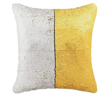 vidaXL Kissen-Set mit Pailletten 2 Stk. 60 x 60 cm Golden und Silbern[2/5]