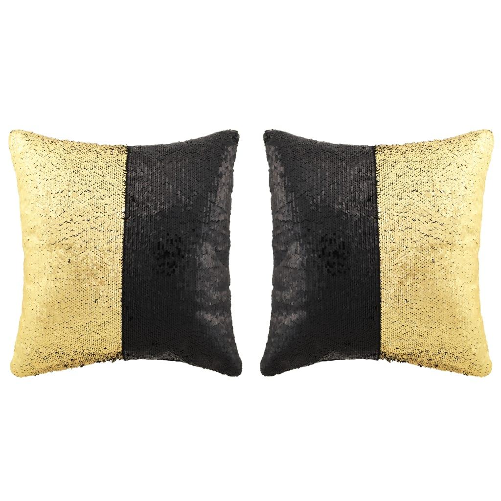 vidaXL Set perne cu paiete, 2 buc., 60 x 60 cm, negru și auriu poza vidaxl.ro