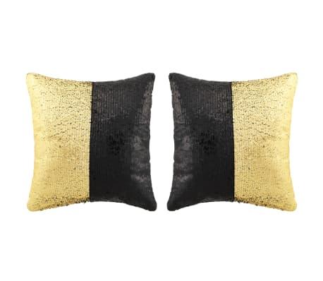 vidaXL Set de cojines con lentejuelas 2 uds 60x60 cm negro y dorado[1/5]