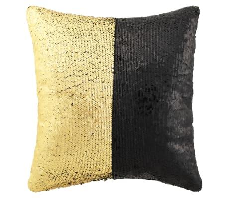 vidaXL Set de cojines con lentejuelas 2 uds 60x60 cm negro y dorado[2/5]