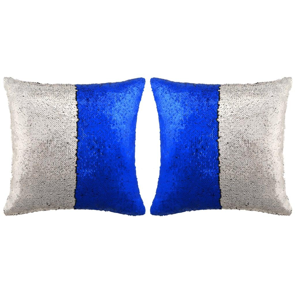 vidaXL Sada polštářů s flitry 2 ks, 45 x 45 cm, modro-stříbrné