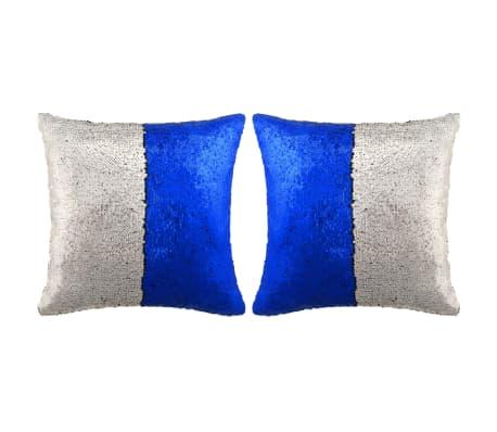 vidaXL Kuddar med paljetter 2 st 45x45 cm blå och silver[1/5]