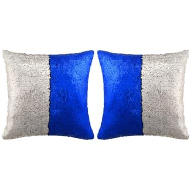 Olcsó vidaXL 2 db flitteres párna 45 x 45 cm kék ezüst  dce5527482