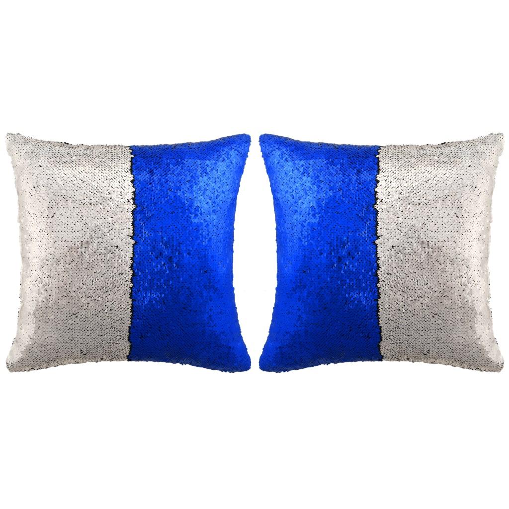 vidaXL Sada polštářů s flitry 2 ks, 60 x 60 cm, modro-stříbrné