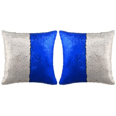 vidaXL Kissen-Set mit Pailletten 2 Stk. 60 x 60 cm Blau und Silbern[1/5]