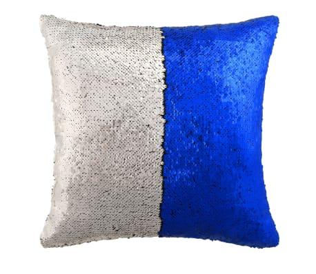 vidaXL Cojines con lentejuelas 2 unidades 60x60 cm azul y plata[2/5]