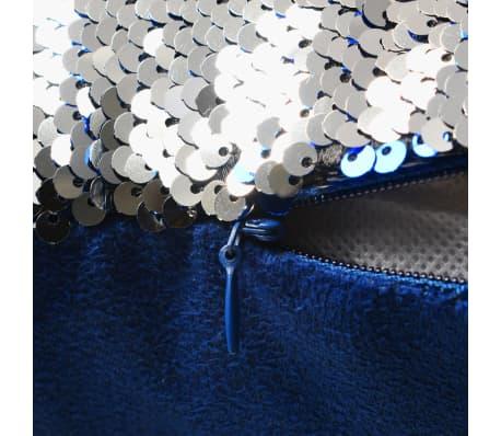 vidaXL Kissen-Set mit Pailletten 2 Stk. 60 x 60 cm Blau und Silbern[4/5]