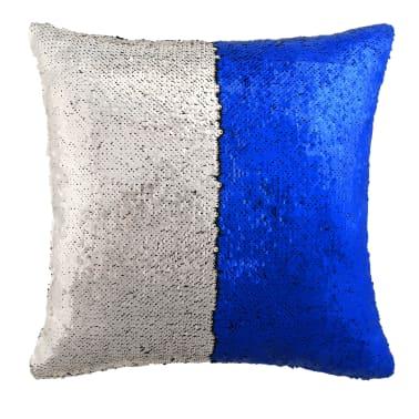 vidaXL Kissen-Set mit Pailletten 2 Stk. 60 x 60 cm Blau und Silbern[2/5]