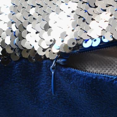 vidaXL Cojines con lentejuelas 2 unidades 60x60 cm azul y plata[4/5]