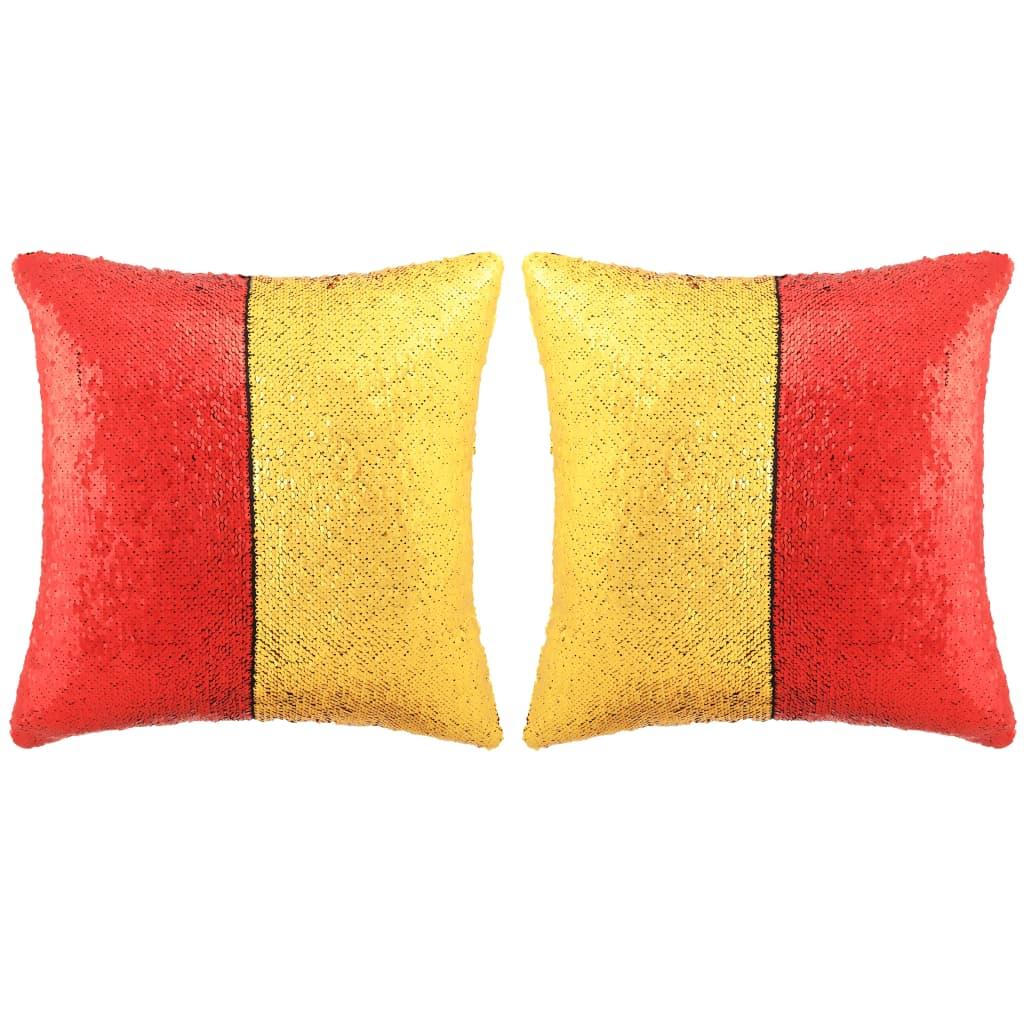 vidaXL Sada polštářů s flitry 2 ks 45 x 45 cm červeno-zlaté