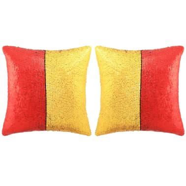 vidaXL Sierkussenset met pailletten 45x45 cm rood en goud 2-delig[1/5]