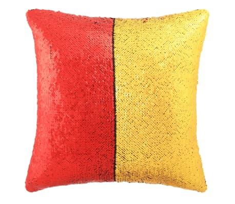 vidaXL Kissen-Set mit Pailletten 2 Stk. 45 x 45 cm Rot und Golden[2/5]