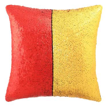 vidaXL Sierkussenset met pailletten 45x45 cm rood en goud 2-delig[2/5]