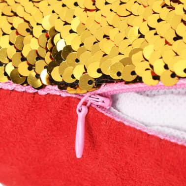vidaXL Sierkussenset met pailletten 45x45 cm rood en goud 2-delig[4/5]