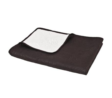 Olcsó vidaXL krémszínű barna kétoldalas steppelt ágytakaró 220 x 240 ... 677855258c