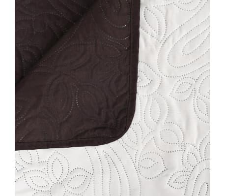 acheter vidaxl couvre lit double face matelass 220 x 240 cm cr me et marron pas cher. Black Bedroom Furniture Sets. Home Design Ideas